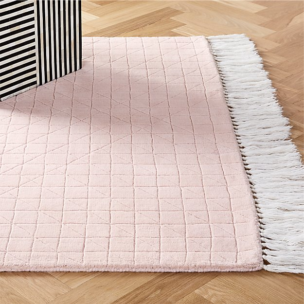 Divvy Dusty Pink Rug - Image 1 of 8