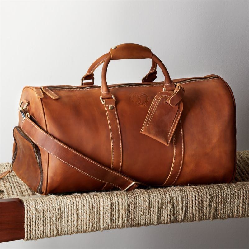 Deluxe Tan Leather Sports Duffel Bag by Crate&Barrel