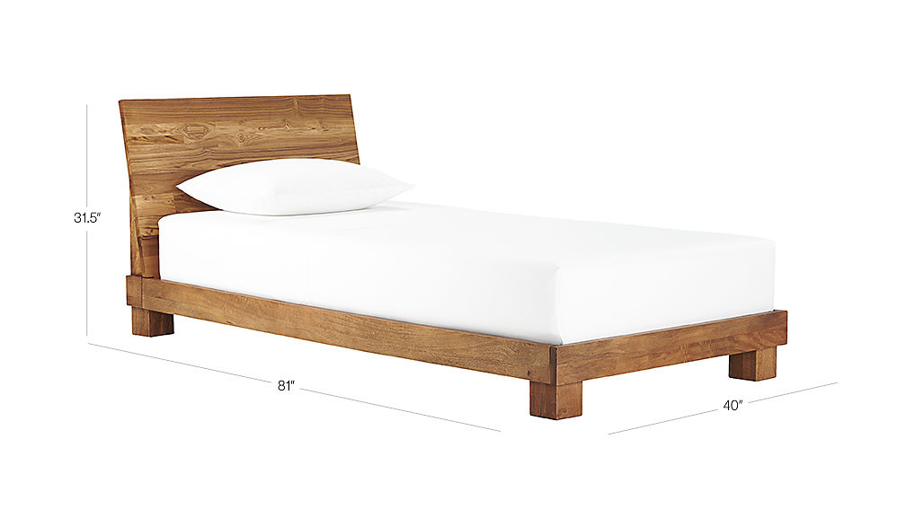 Image with dimension for Dondra Teak Twin Bed