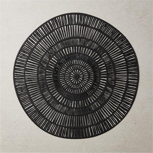 Doodle Round Placemat Black