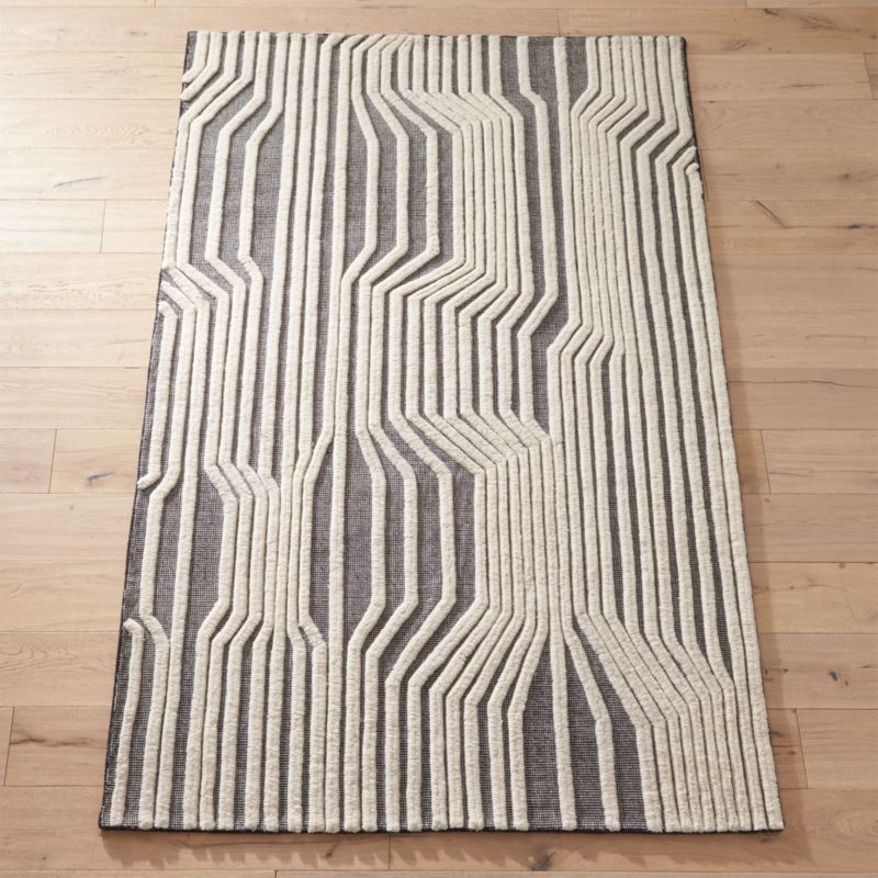 Doppler Black And White Rug by Crate&Barrel