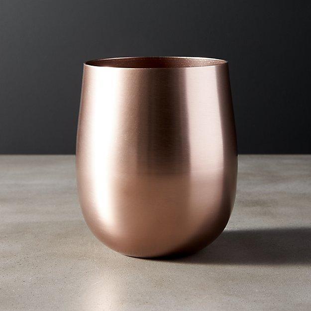 Doris Bronze Aluminum Stemless Wine Glass - Image 1 of 7