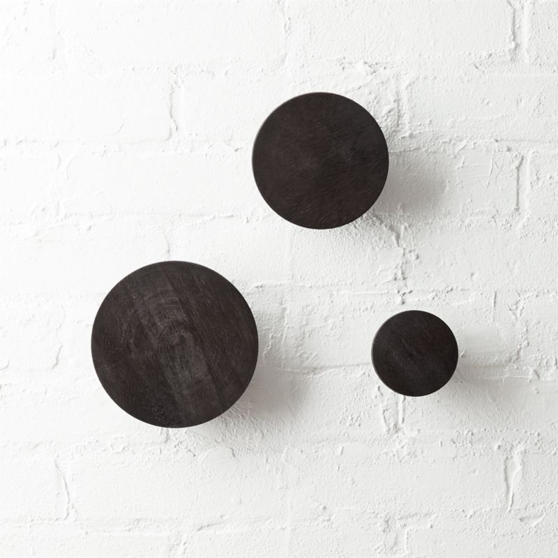 Superieur Dot Charred Black Coat Hooks Set Of 3