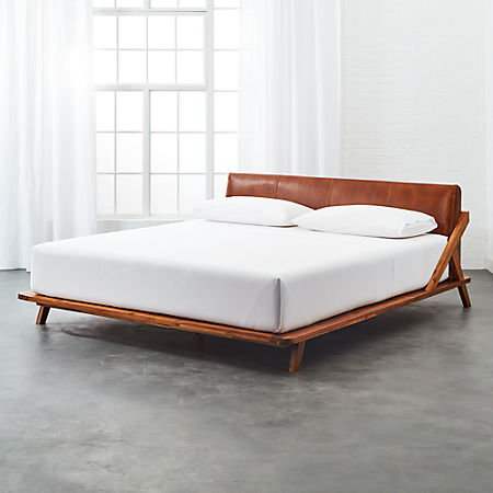 promo code b7b7f 56566 Drommen Acacia King Bed with Leather Headboard