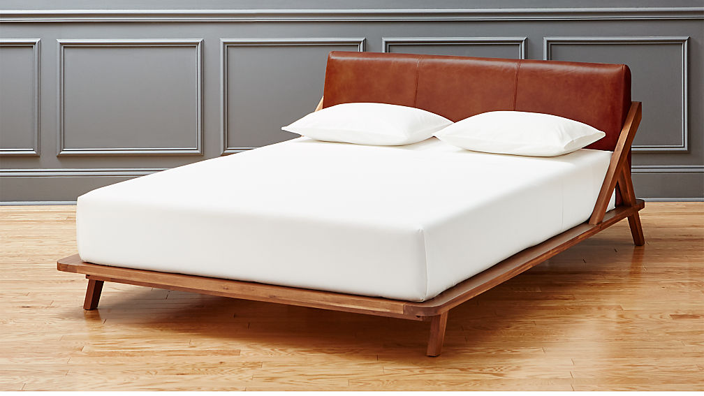 20 Best Beds Headboards Images On Pinterest: Drommen Acacia Bed With Leather Headboard
