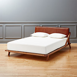Charming Drommen Acacia Bed With Leather Headboard