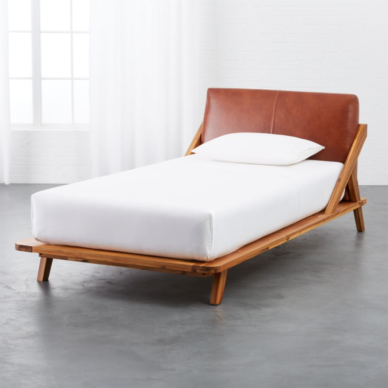 Drommen Acacia Twin Bed With Leather Headboard