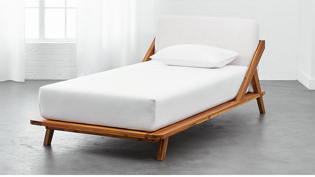 Twin Bed Frame.Drommen Acacia Wood Twin Bed
