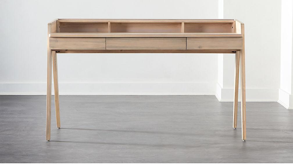 Drommen Whitewashed Desk - Image 1 of 7