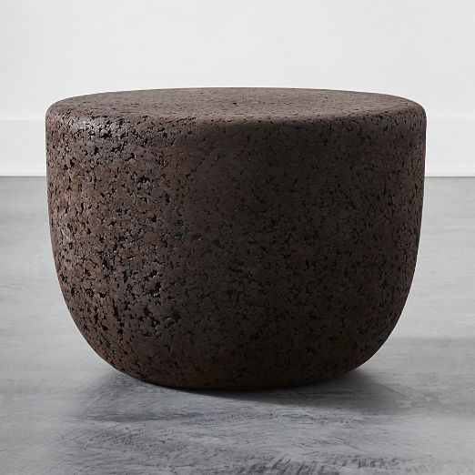 Drop Low Black Cork Side Table Small