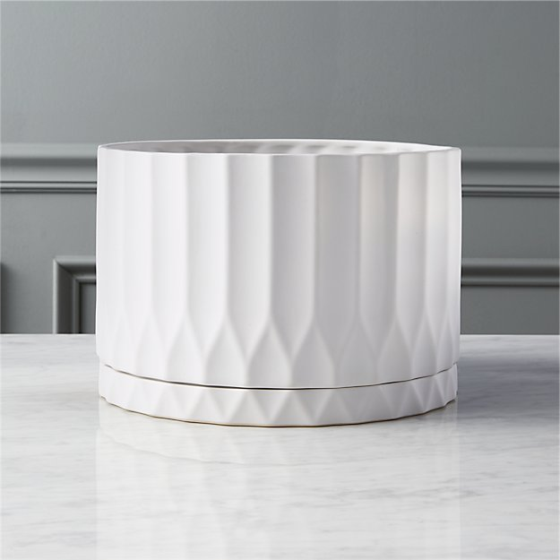 Drum White Planter - Image 1 of 7