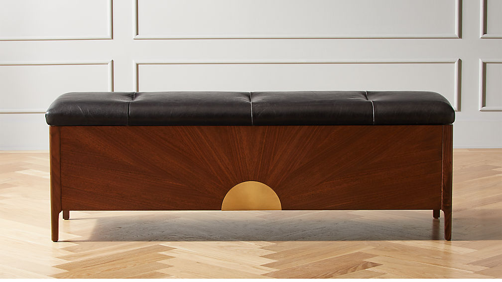 Dusk Leather and Wood Storage Bench - Image 1 of 11
