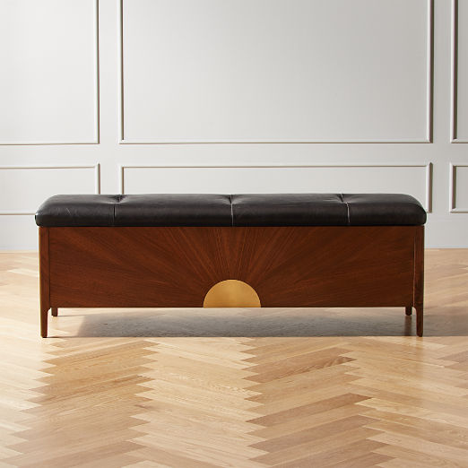 Dusk Leather and Wood Storage Bench