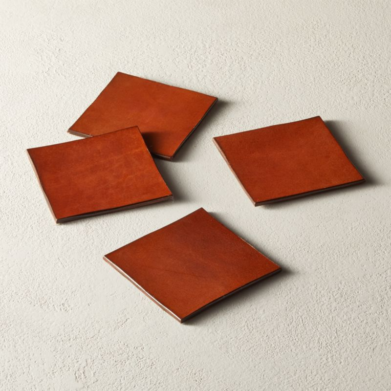 Eastwood Leather Coasters Set Of 4 by Crate&Barrel