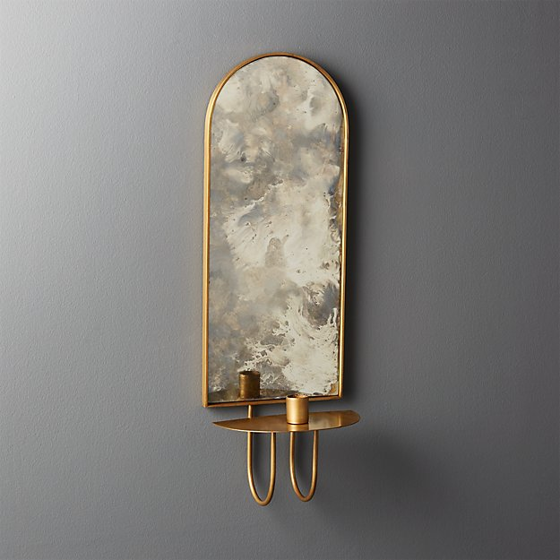 edin antiqued mirror taper candle wall sconce reviews cb2. Black Bedroom Furniture Sets. Home Design Ideas
