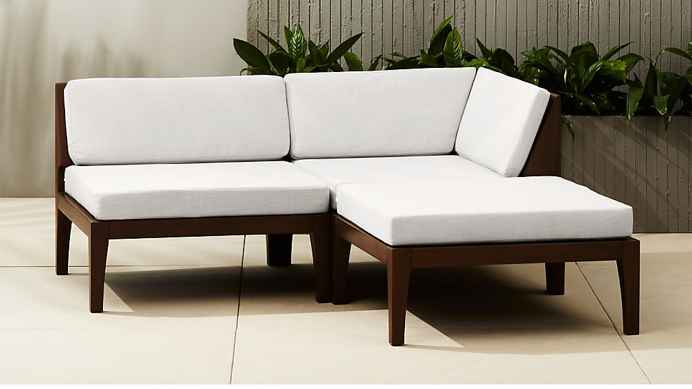 Elba Outdoor Mahogany Sectional Sofa Reviews Cb2