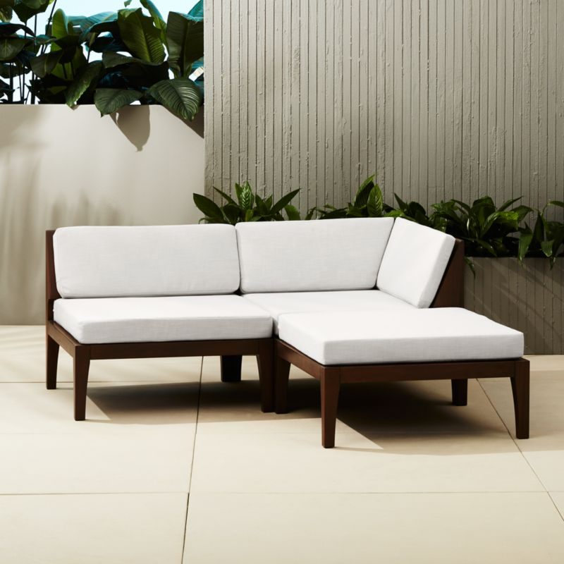 Elba Outdoor Mahogany Sectional Sofa + Reviews | CB2