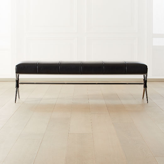 Ellis Leather Xbase Channel Tufted Bench