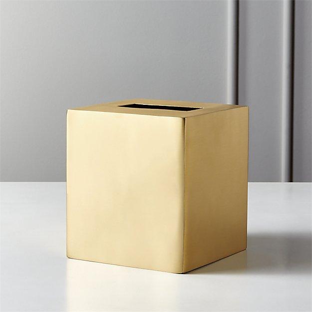 Elton Brushed Brass Tissue Box Cover - Image 1 of 12