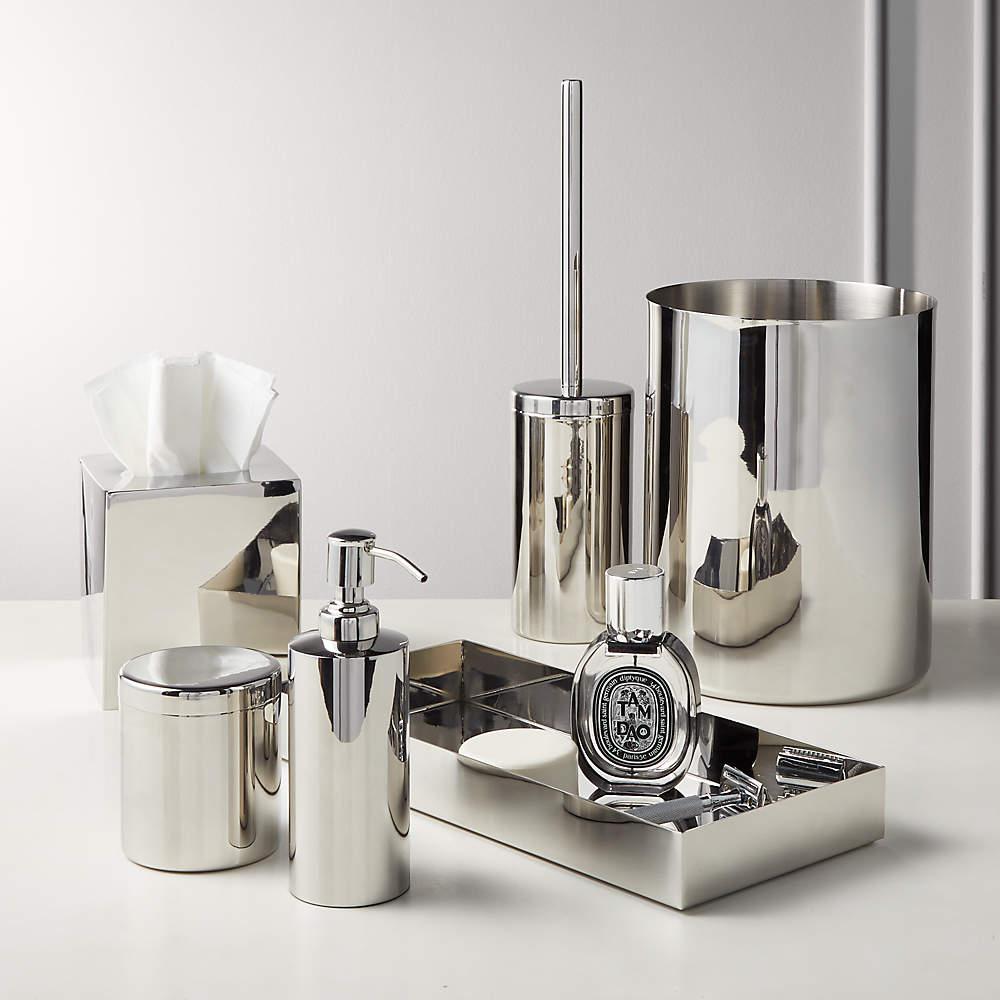 Elton Polished Stainless Steel Bath, Nickel Finish Bathroom Accessories