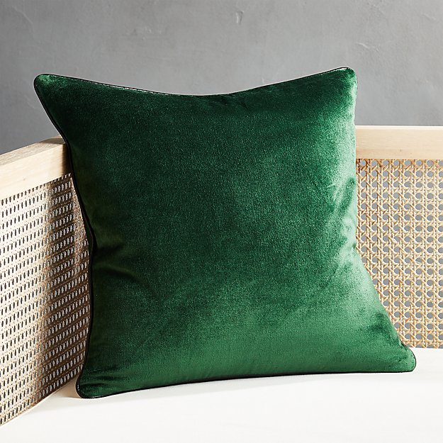 "18"" Emerald Crushed Velvet Pillow - Image 1 of 5"