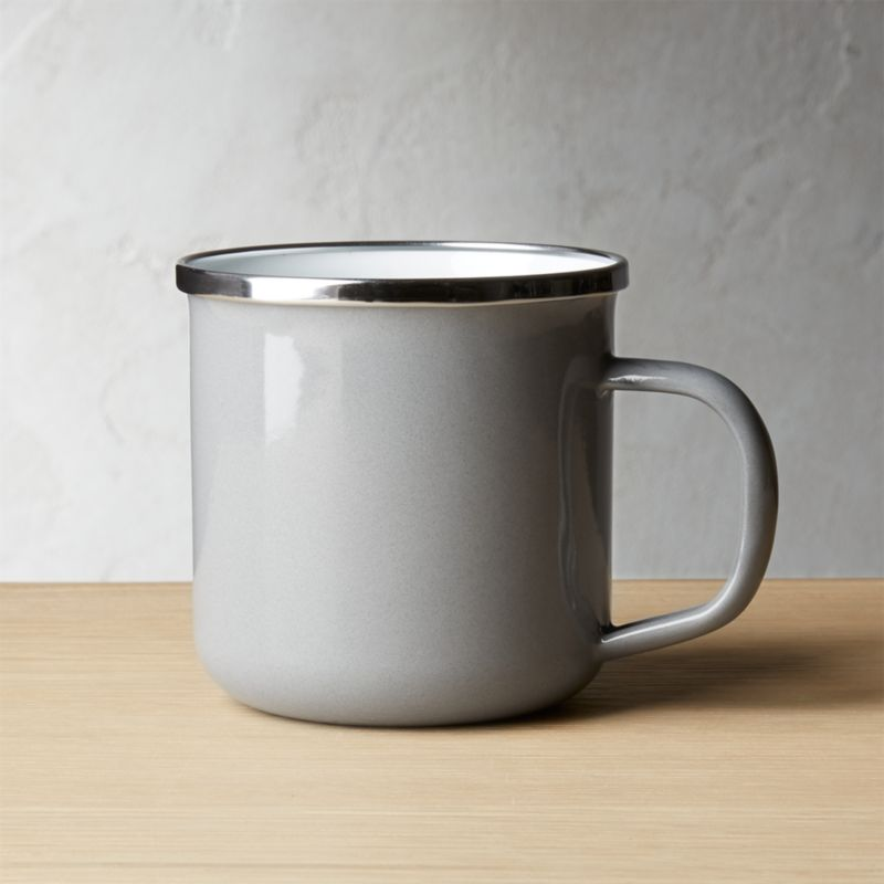 Large Light Grey Enamel Mug