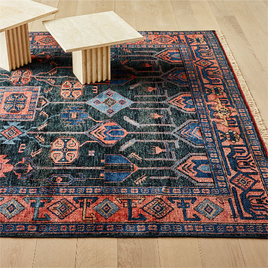 Eros Handknotted Red and Blue Rug