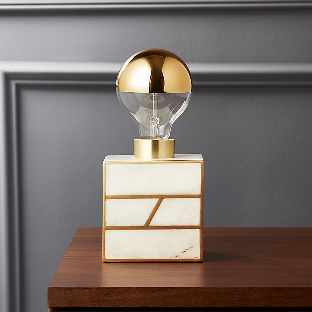 Escape White Marble Table Lamp Reviews Cb2