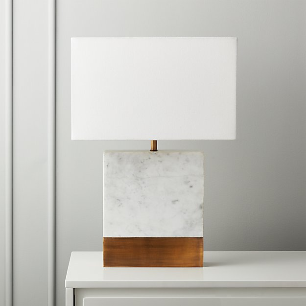 Estuary White Marble and Brass Table Lamp - Image 1 of 7