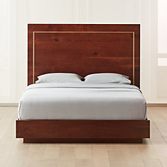 Everett Acacia with Brass Inlay Queen Bed (Mattress Sold Separately).