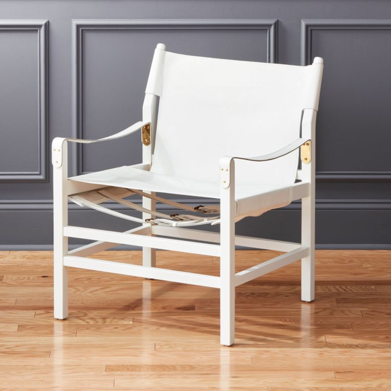 Charmant Expat II White Leather Safari Chair