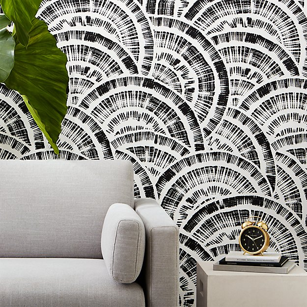Expressionist Rounds Black And White Wallpaper Reviews Cb2
