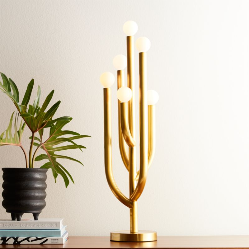 Cacti Glow Brass Table Lamp Reviews Cb2