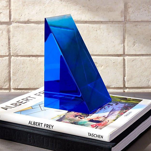Deep Blue Acrylic Bookend - Image 1 of 7