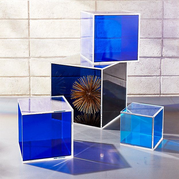 4 Piece Deep Blue Acrylic Storage Box Set Reviews Cb2