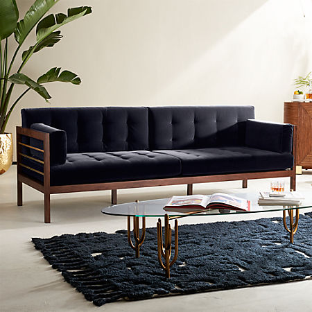 Hollywood Midnight Blue Velvet Sofa
