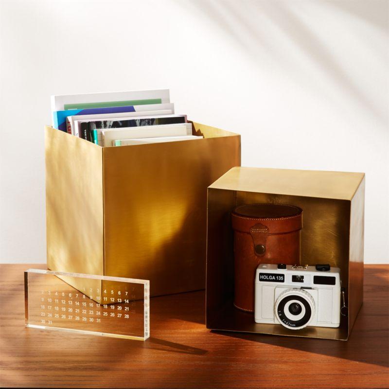 2-Piece Large Solid Brass Studio Storage Box Set & Gold Storage | CB2