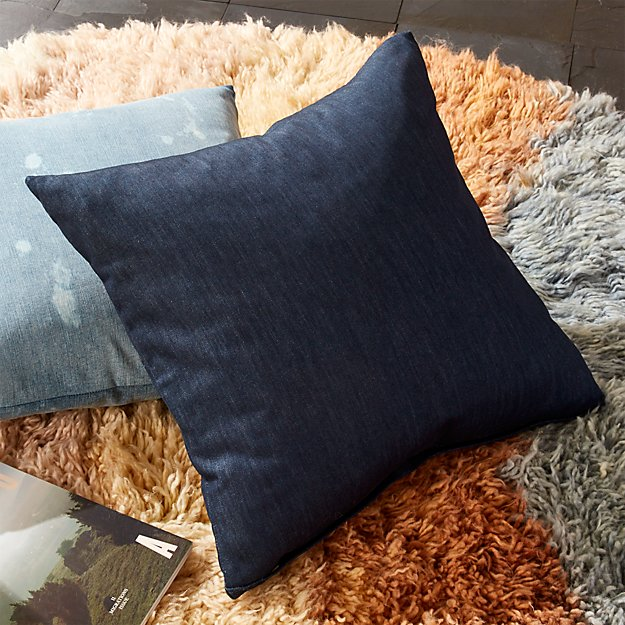 "23"" Whisker Blue Denim Pillow with Feather-Down Insert - SOLD OUT - Image 1 of 8"