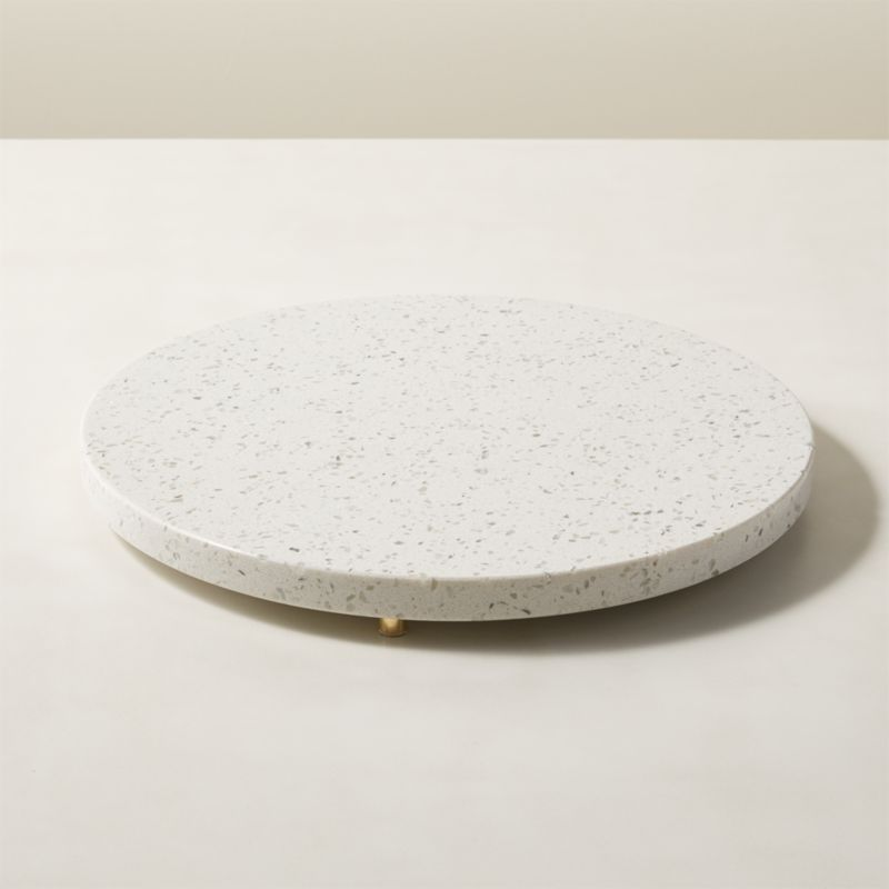 Terrazzo White Round Serving Platter by Crate&Barrel