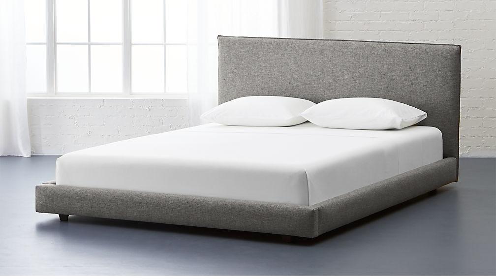 grey queen bed facade grey upholstered bed | CB2 grey queen bed