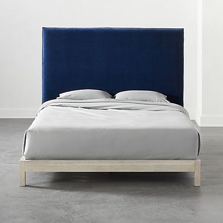 on sale 9b24f d862c Façade Tall Navy Velvet Headboard Queen + White Washed Wood Frame + Reviews  | CB2