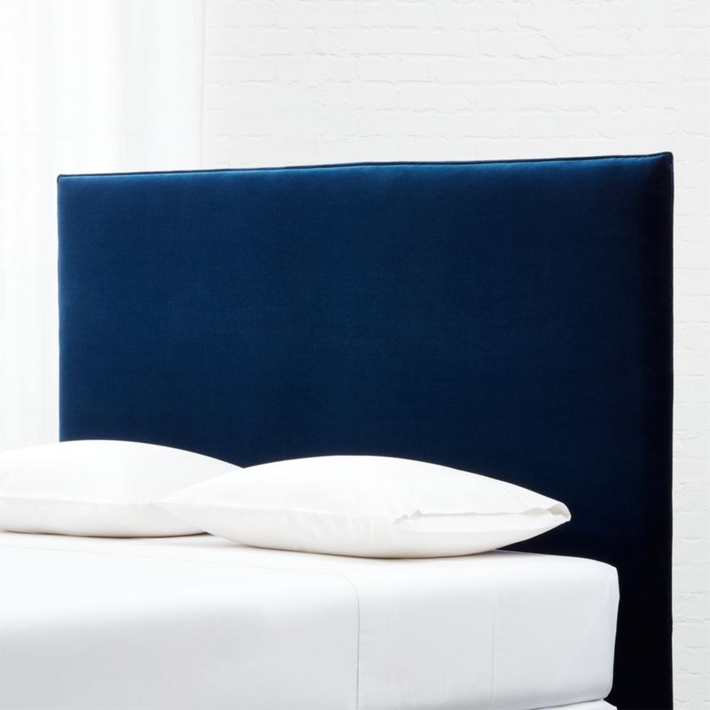 Façade Tall Navy Velvet Headboard King