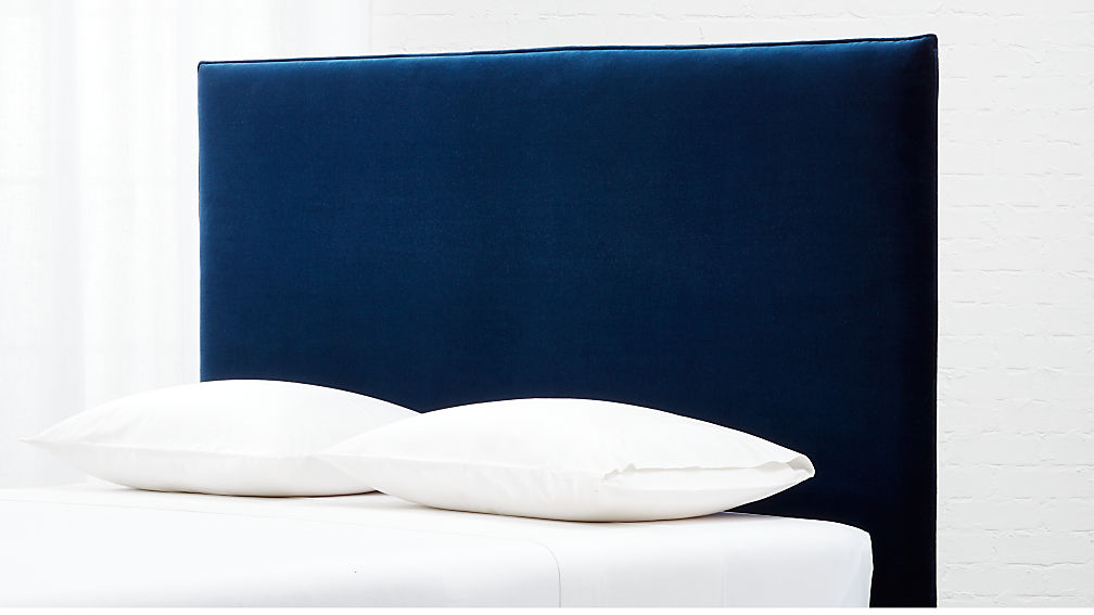 Façade Tall Navy Velvet Queen Headboard with Base Options - Image 1 of 10