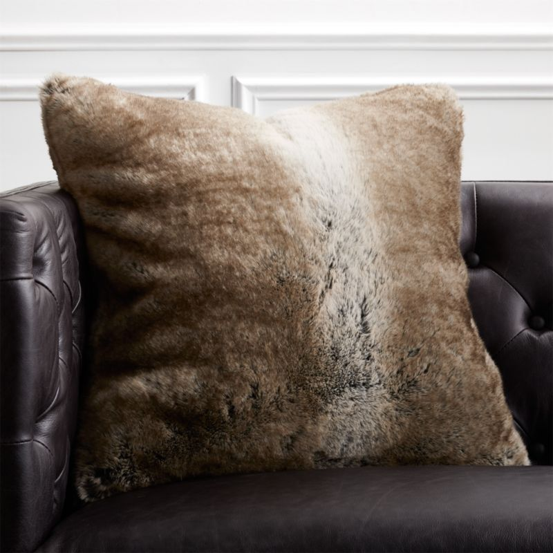 20 Grey Faux Fur Pillow with Down Alternative