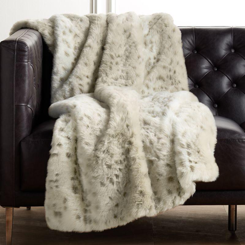 Faux Fur Snow Leopard Throw Reviews Cb2