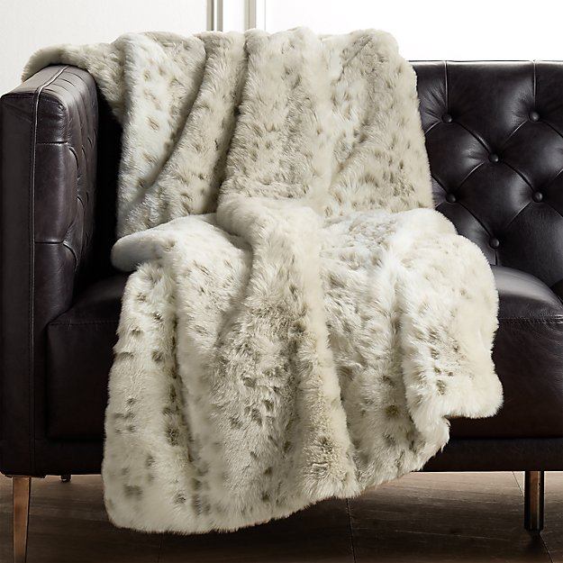Faux Fur Snow Leopard Throw - Image 1 of 10