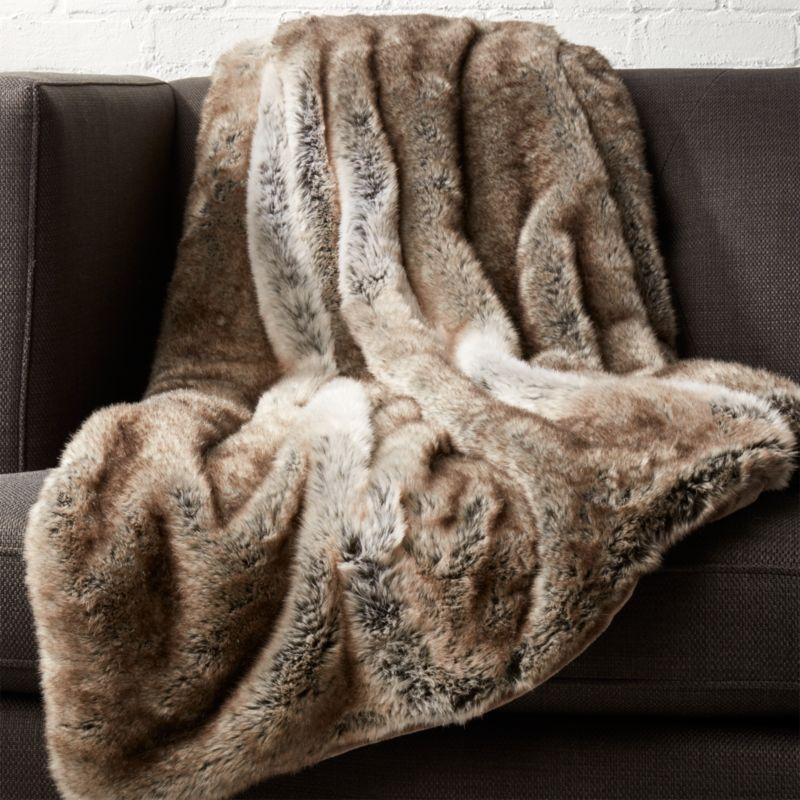Light Grey Faux Fur Throw Reviews Cb2
