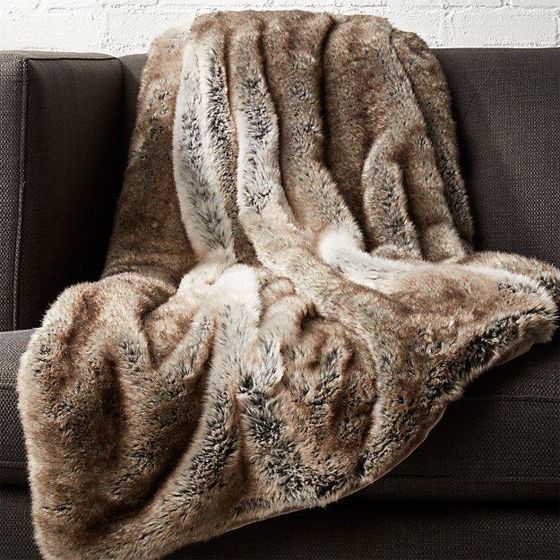 Light Grey Faux Fur Throw - Image 1 of 10
