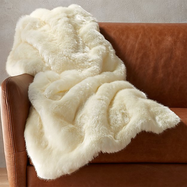 White Faux Fur Throw Blanket Reviews Cb2