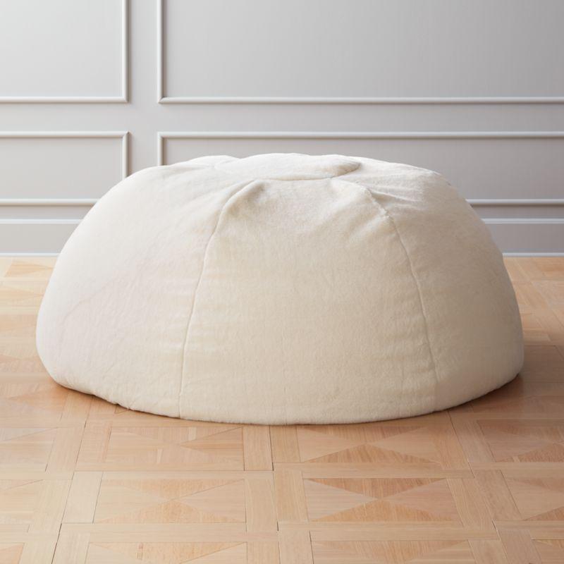 White Faux Fur Bean Bag Cb2